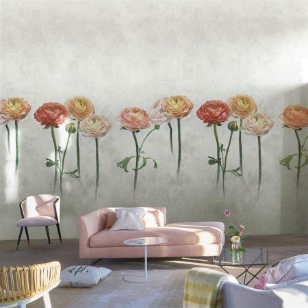 Papel pintado panorámico con motivo de flores