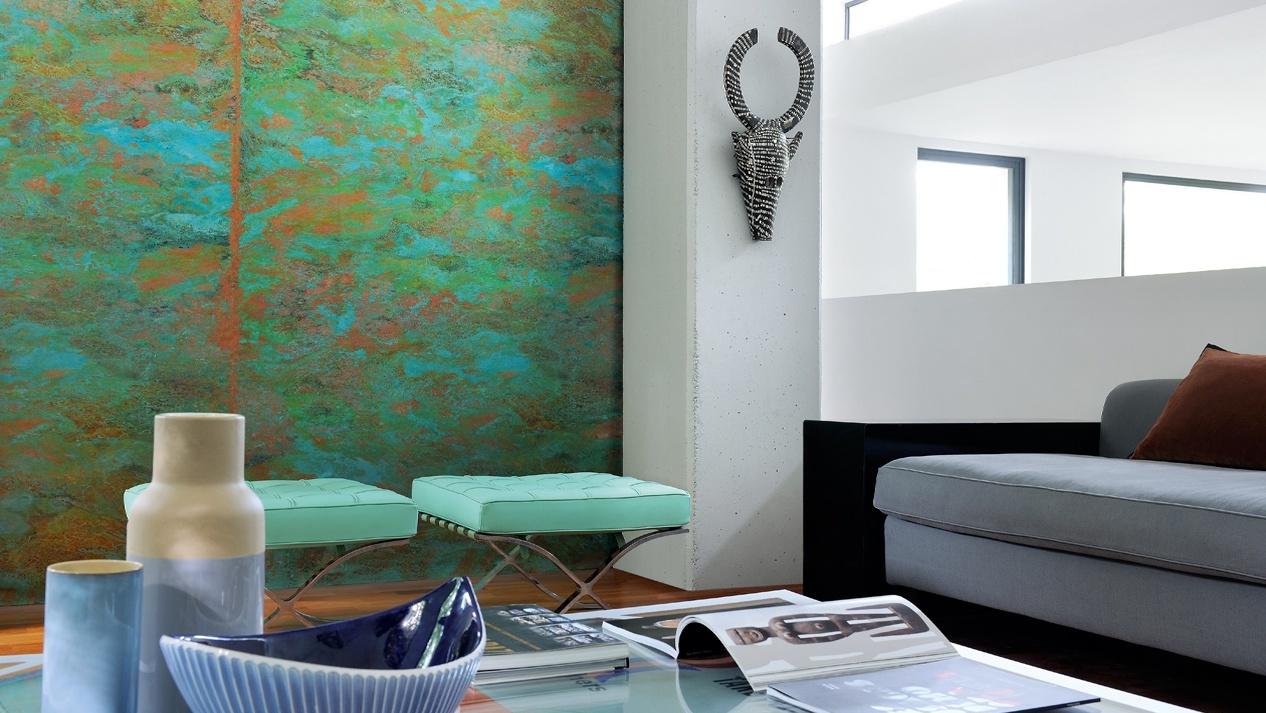 Papel pintado color turquesa