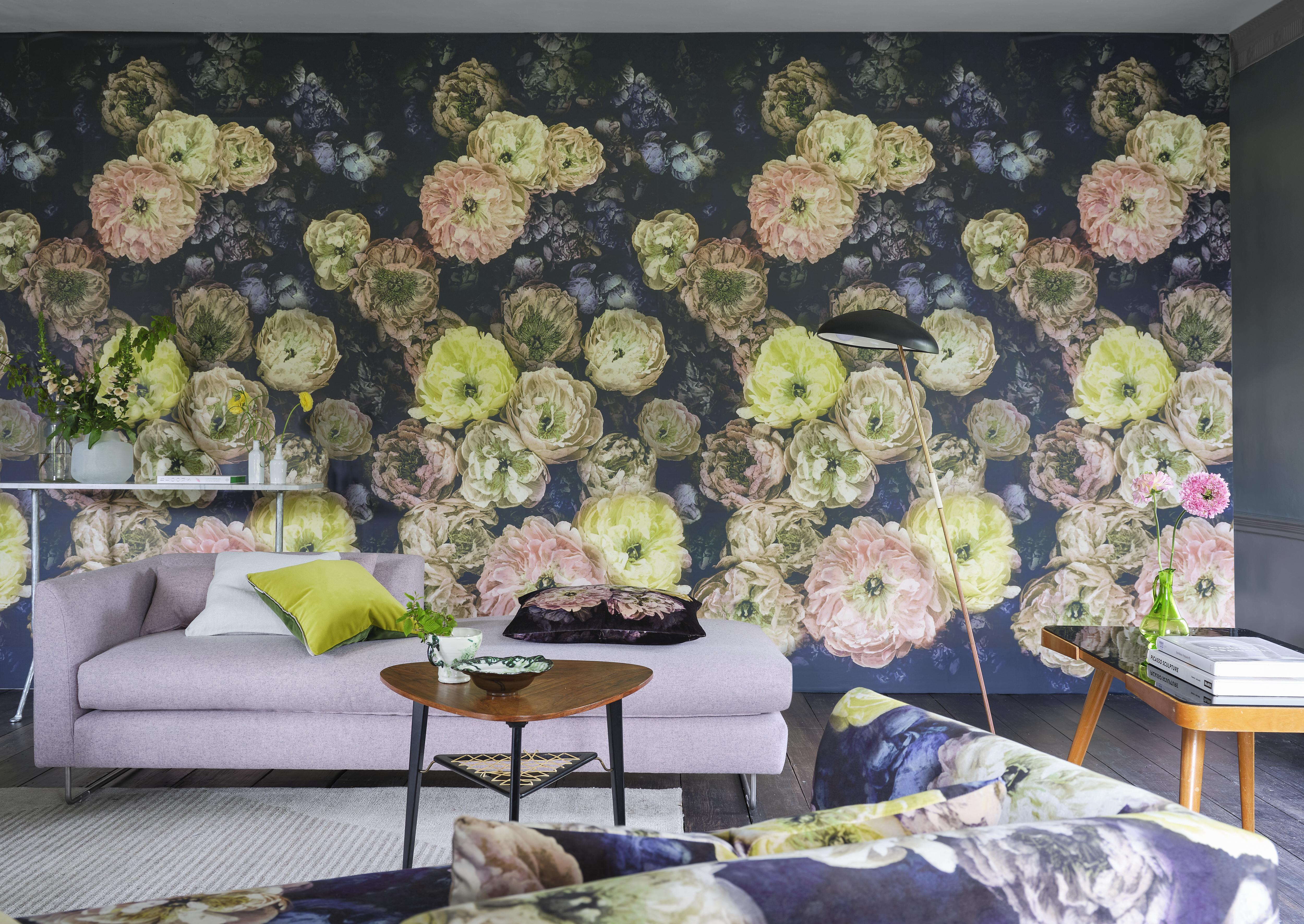 Mural panorámico de flores grandes