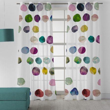 Visillo estampado con círculos de colores