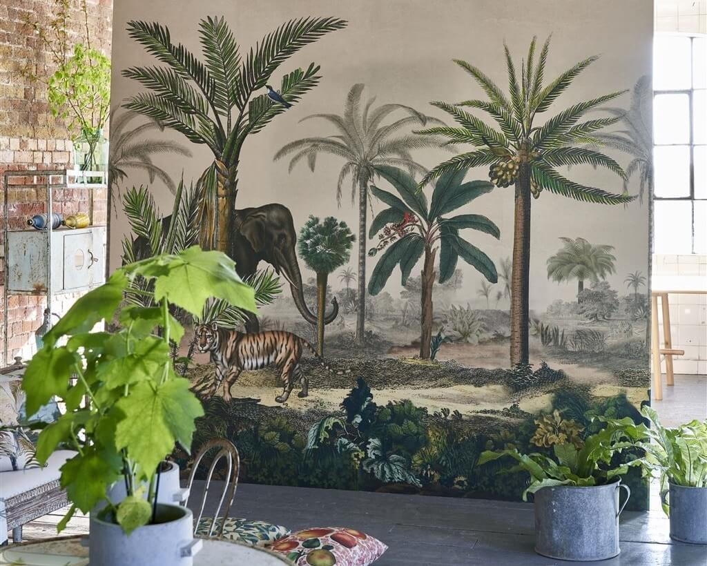 Mural panorámico Palm Trail de John Derian para Designers Guild